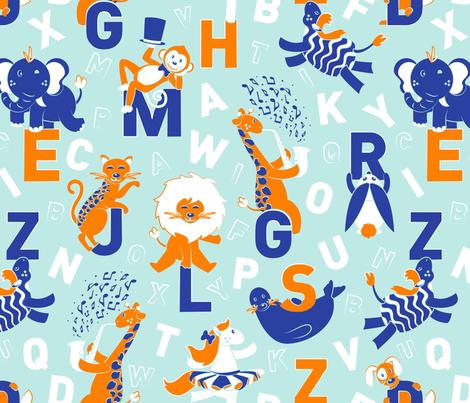 A B Circus Animals fabric by selmacardoso on Spoonflower - custom fabric