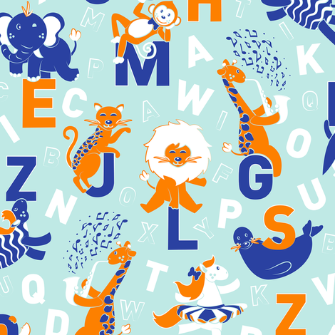 A B Circus Animals // powder blue background orange monkey lion giraffe jaguar white horse cobalt blue zebra seal elephant white alphabet letters fabric by selmacardoso on Spoonflower - custom fabric