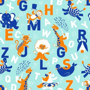 A B Circus Animals // powder blue background orange monkey lion giraffe jaguar white horse cobalt blue zebra seal elephant white alphabet letters