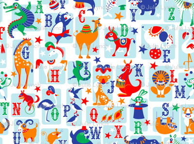circus animal alphabet blue