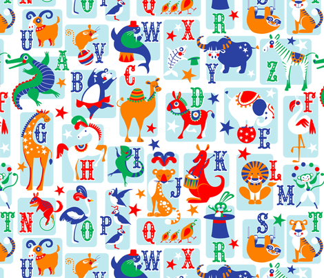circus animal alphabet blue fabric by cjldesigns on Spoonflower - custom fabric