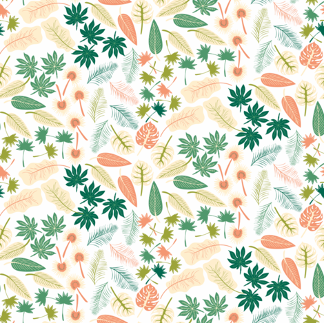 Tropical leaves fabric by marina_grzanka on Spoonflower - custom fabric