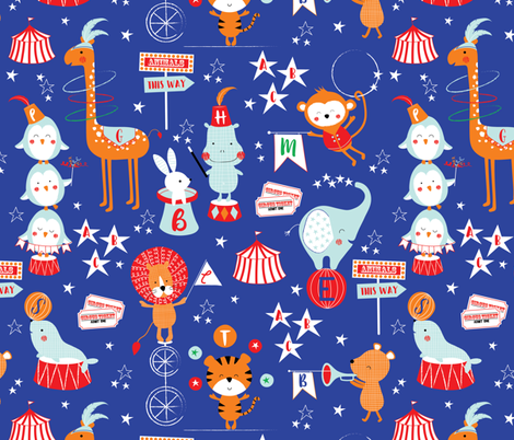 Animal Alphabet circus fabric by sarah_knight on Spoonflower - custom fabric