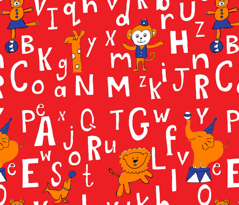 Alphabet_Circus_Red fabric by oceangirlcreativeco on Spoonflower - custom fabric