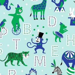 Circus Animal Alphabet blue/green