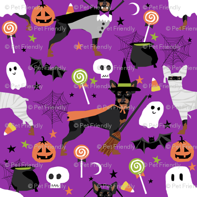 min pin fabric dogs and halloween design miniature pinscher costume fabric - purple