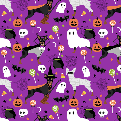 min pin fabric dogs and halloween design miniature pinscher costume fabric - purple fabric by petfriendly on Spoonflower - custom fabric