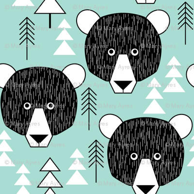 small bear faces and trees on teal