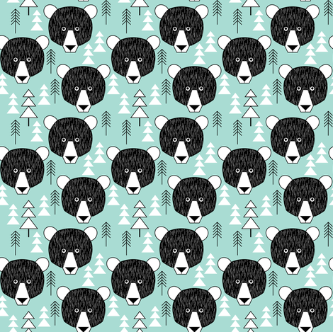 small bear faces and trees on teal fabric by lilcubby on Spoonflower - custom fabric