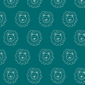 Lion Dark Teal - Jungle
