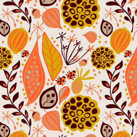 Seed pods in the Fall fabric by sarahparr on Spoonflower - custom fabric