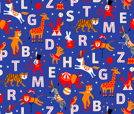 Circus Animal Alphabet red/orange/blue fabric by heleen_vd_thillart on Spoonflower - custom fabric