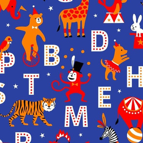Circus Animal Alphabet red/orange/blue