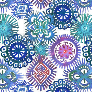 Blues Batik on White