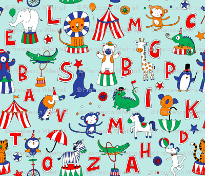 Animal Circus Alphabet - sky blue