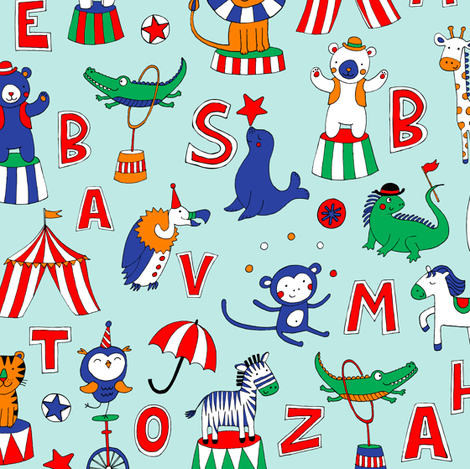 Animal Circus Alphabet - sky blue fabric by cecca on Spoonflower - custom fabric