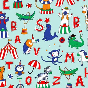 Animal Circus Alphabet - sky blue