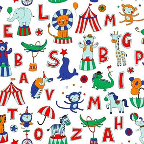 Animal Circus Alphabet - on white