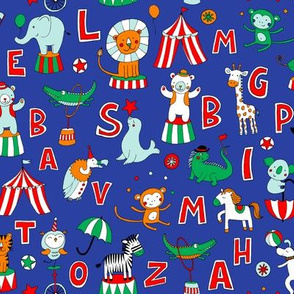 Animal Circus Alphabet - blue