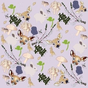 mixed fawn and friends print heather field