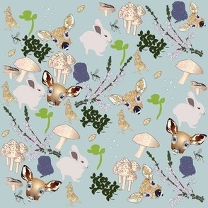 mixed fawn and friends print dew green