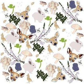 mixed fawn and friends print snow cap