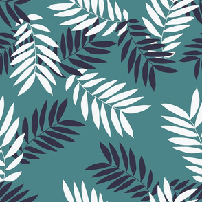 Tropical Leaves Teal