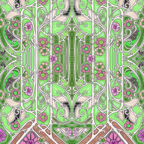 Blooming Nouveau Garden fabric by edsel2084 on Spoonflower - custom fabric