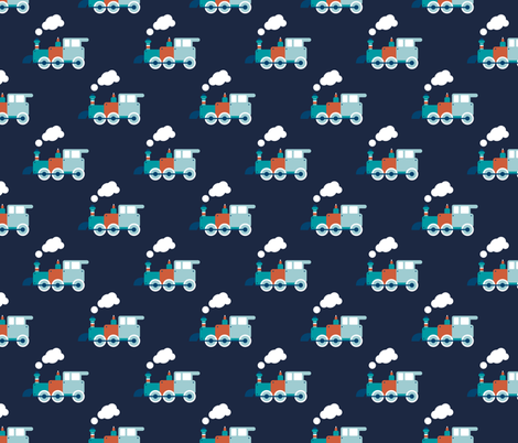 Vintage steam train illustration navy kids pattern fabric for Fabric with trains pattern
