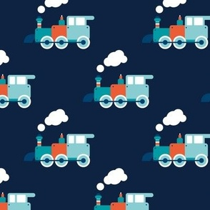 Vintage steam train illustration navy kids pattern