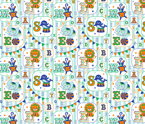 Circus alphabet fabric by olgart on Spoonflower - custom fabric