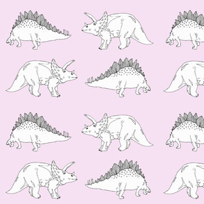 black and white dinos on pink