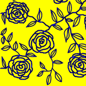 Climbing Roses - yellow & graphic blue