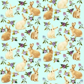 Bunnies In The Garden, Pale Aqua