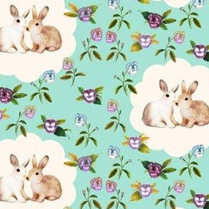 Bunnies in Love, Garden Floral, Minty