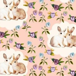 Bunnies in Love, Garden Floral in Peach