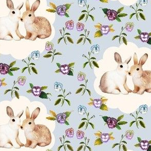 Bunnies in Love Garden Floral, Smokey Lilac