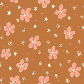 Peach Hibiscus Floral on Caramel