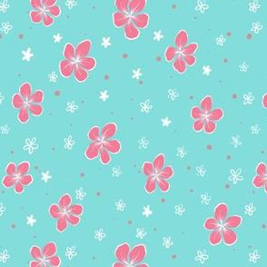 Pink Hibiscus Floral on Aqua