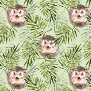 Hedgehogs. Green pattern