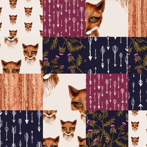 Cheater Quilt, Fox and Thistle, Midnight Plum