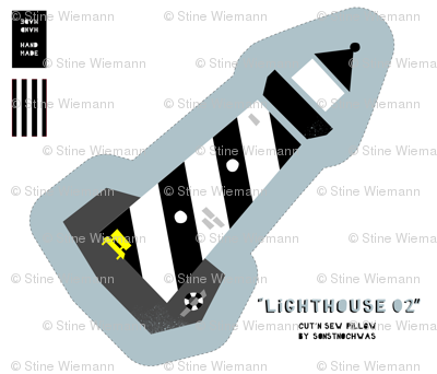 "Cut and Sew ""Lighthouse 02"" (black and white)"