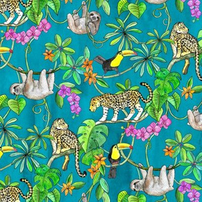Rainforest Friends - watercolor animals on textured teal - small