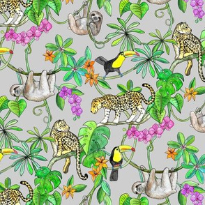 Rainforest Friends - watercolor animals on grey - small