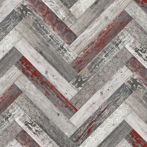 Vintage Wood Tiles Herringbone Burgundy