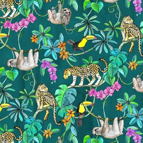 Rainforest Friends - watercolor animals on dark textured teal - small