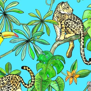 Rainforest Friends - watercolor animals on turquoise - large