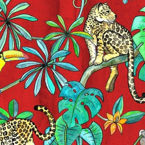 Rainforest Friends - watercolor animals on textured red - large