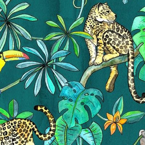Rainforest Friends - watercolor animals on dark textured teal - large