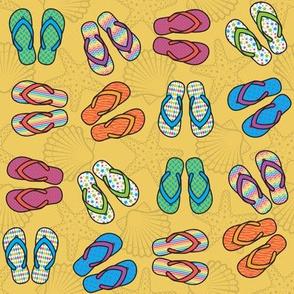 Flip Flops - Bright, Gold
